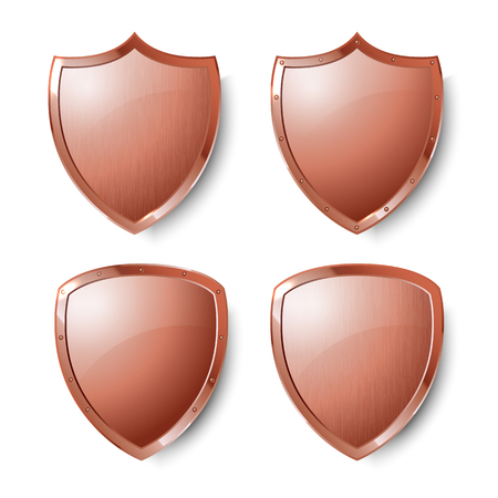 Collection of copper shields isolated on whiite background