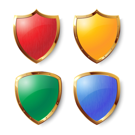 Collection of colorful shields with golden frames
