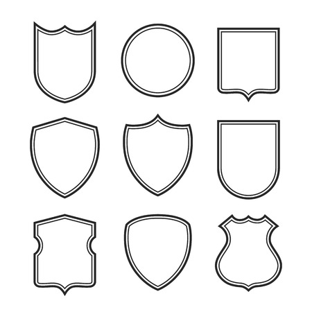 Collection of shield silhouettes isolated on white background