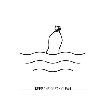 Keep the ocean clean. Line art isolated on white background Ilustração