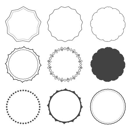 Set of nine design frames, borders, circles Stock Illustratie
