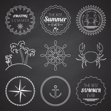 Set of 9 design summer elements, frames, borders