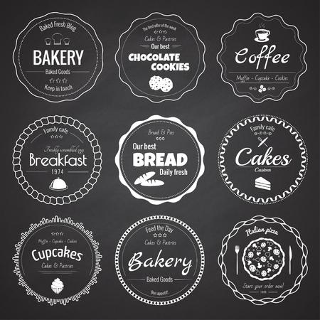 Set of 9 circle bakery labels Stock Illustratie