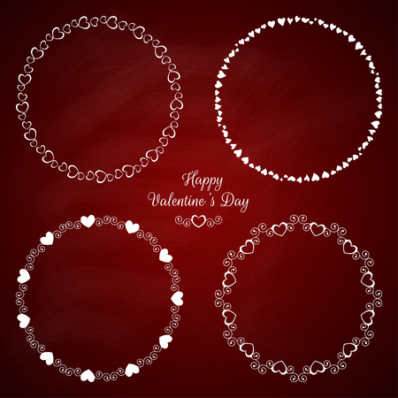 Set of 4 circle cute frames for the St. Valentine s Day Illustration