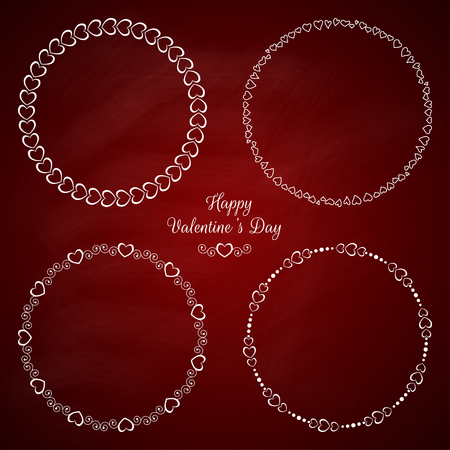Set of 4 circle cute frames for the St. Valentine s Day 일러스트