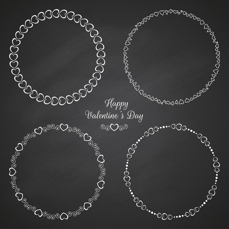 Set of circle cute frames for the St. Valentines Day Çizim