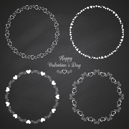 Set of circle cute frames for the St. Valentines Day Illustration