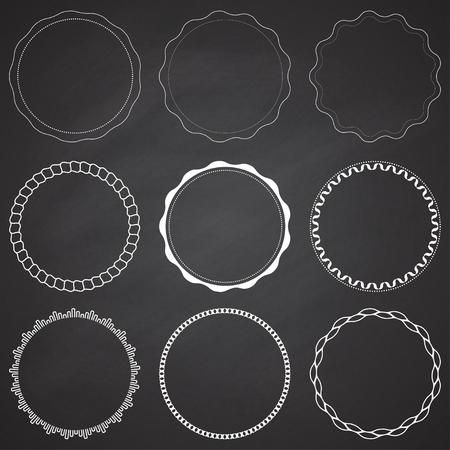 Set of 9 circle design frames, borders, circles
