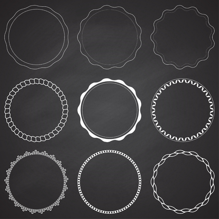 Set of 9 circle design frames, borders, circles