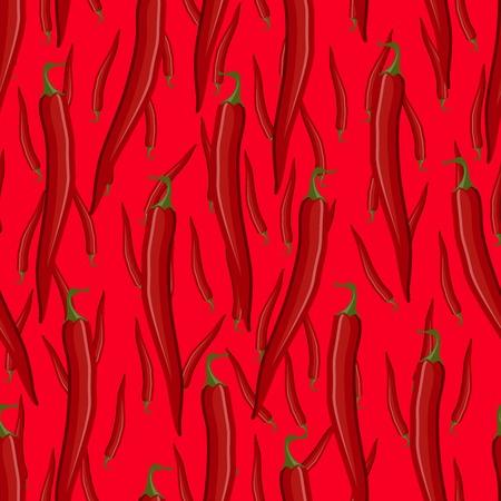 Red hot chili pepper seamless pattern
