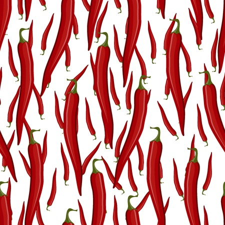Red hot chili pepper vector seamless pattern on the white backgroun