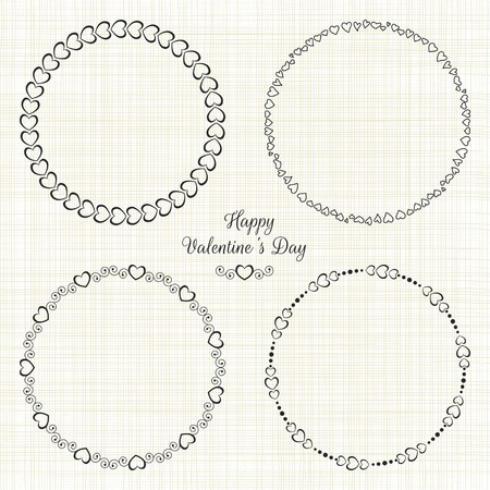 Set of circle cute frames for the St. Valentines Day 일러스트