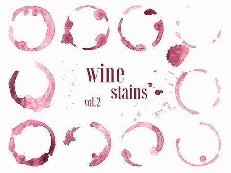 Set of wine stains and splatters. Vector illustration