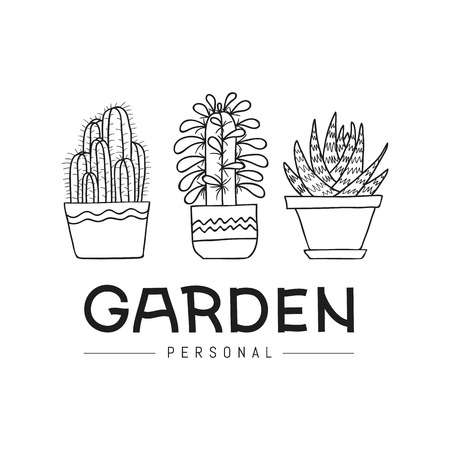 Personal garden. Set of hand-drawn succulent and cactus isolated on white background. Vector illustration. Can be used as a print on t-shirts, bags, stationery, posters, greeting cards Ilustração