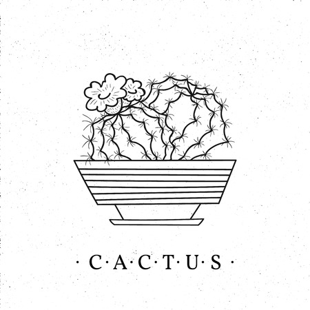Black and white cactus in a pot. Vector hand-drawn cartoon style illustration isolated on white background. Can be used as a print on t-shirts, bags, stationery, posters, greeting cards.