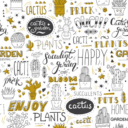 Vector typographical seamless pattern with succulents, cactuses and modern lettering phrases. Botanical black, white ang golden hand-drawn illustration. Can be used in your design project as decoration, wrapping paper, scrapbooking paper, fabric print.