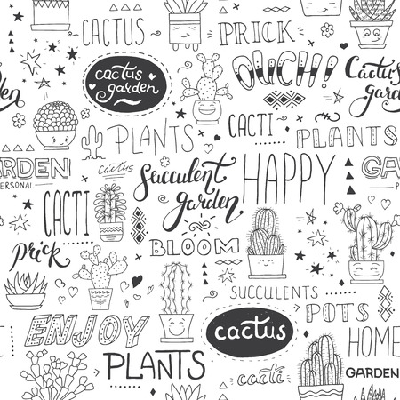 Vector typographical seamless pattern with succulents, cactuses and modern lettering phrases. Botanical black and white hand-drawn illustration. Can be used in your design project as decoration, wrapping paper, scrapbooking paper, fabric print. Illustration