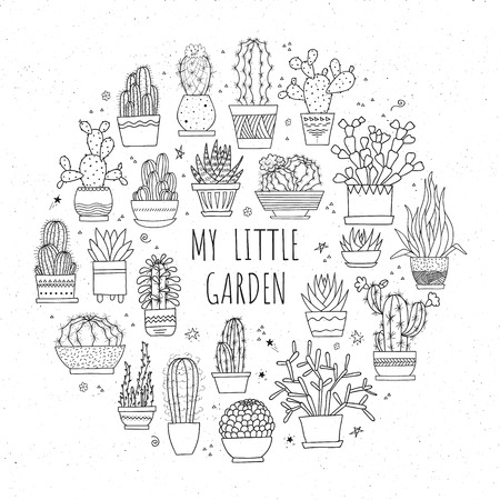Collection of hand-drawn cacti and succulents in pots. Monochrome line art ink illustration.