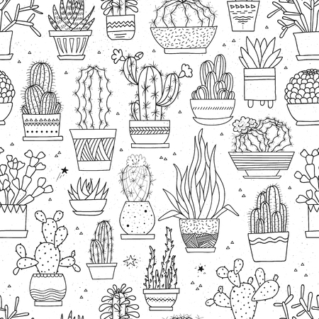 Vector seamless pattern with hand-drawn cacti and succulents in pots. Line art ink illustration. Can be used in your design project as decoration, wrapping paper, scrapbooking paper, fabric prints. Illustration