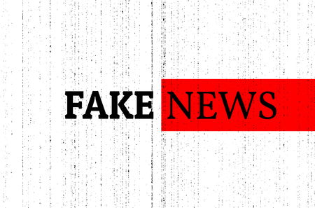 Fake news concept. Red, black and white vector illustration with grunge photocopy texture. Can be used as a banner or background in social media.