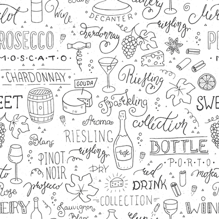 Wine vector seamless pattern with hand-drawn elements Ilustração