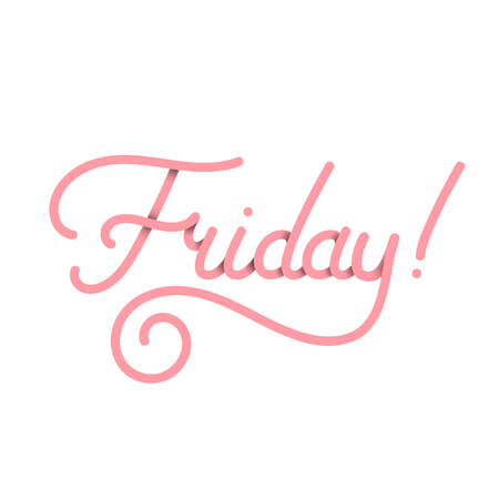 Friday in pink. Vector typography design isolated on white background 스톡 콘텐츠