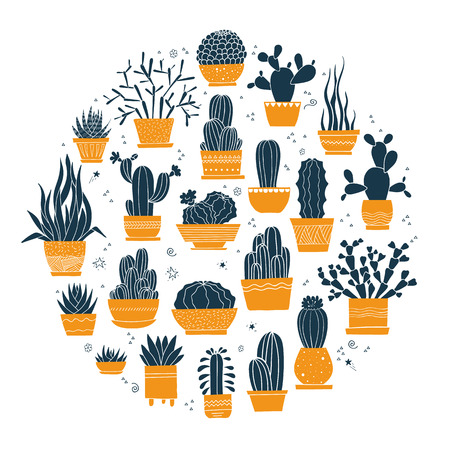 Collection of hand-drawn cacti and succulents in pots. Vector illustration in colors isolated on white background. Can be used as a print on t-shirts, bags, stationery, posters, greeting cards.