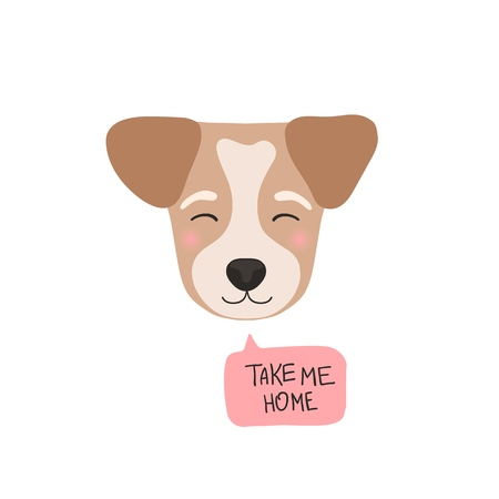 Take me home. Flat style dog head with closed eyes and a speech bubble. Cute cartoon vector illustration isolated on white background. Can be used as a print on t-shirts, bags, stationery, posters, greeting cards.