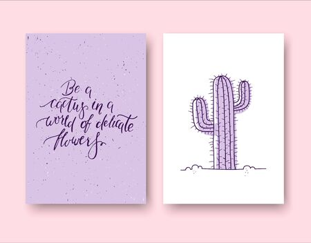 Be a cactus in a world of delicate flowers. Set of two cards 스톡 콘텐츠