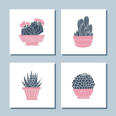 Set of cute hand drawn card templates with cacti and succulents