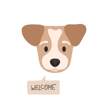 Welcome. Flat style dog head with opened eyes and a speech bubble. Cute cartoon vector illustration isolated on white background. Can be used as a print on t-shirts, bags, stationery, posters, greeting cards.