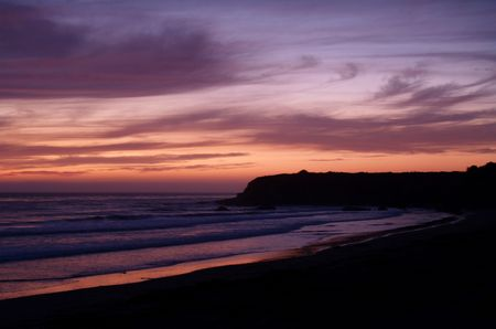 eventide: Pink sunset south of Santa Barbara, California.        Stock Photo