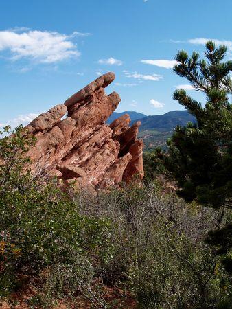 Beautiful red rocks at �Garden of the Gods� in Colorado Springs, Colorado      Stock Photo - 4203594