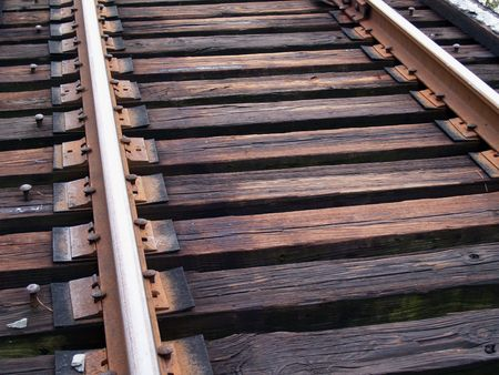 Close up view of weathered train track rails.