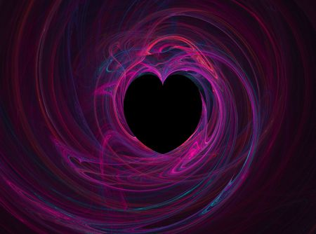 Black heart with multicolored swirls of pink, blue,  and purple photo