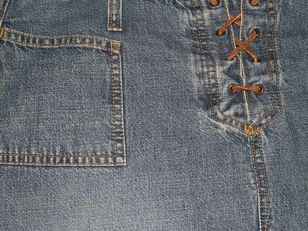 デニムパンツやスカート フロントとポケットをひもでクローズ アップ。 写真素材 - 4266326