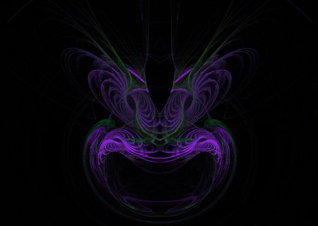 feathered: A purple mask or face shaped fractal on a black background with feathered eyebrows.