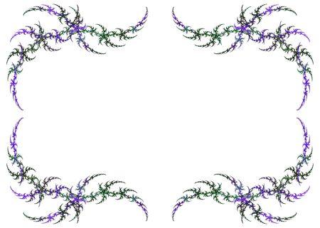 マルディグラ白いコピー スペース上の色の緑と紫のフラクタル フレーム。 写真素材
