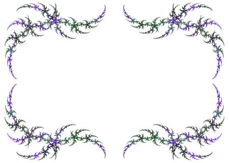 Mardi Gras colored fractal frame with green and purple over a white copy space. photo