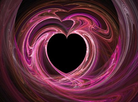 Black heart among pink and purples photo