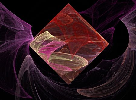 Pink, red, & beige fractal square or diamond floating in smoky waves of lavender on a black background.