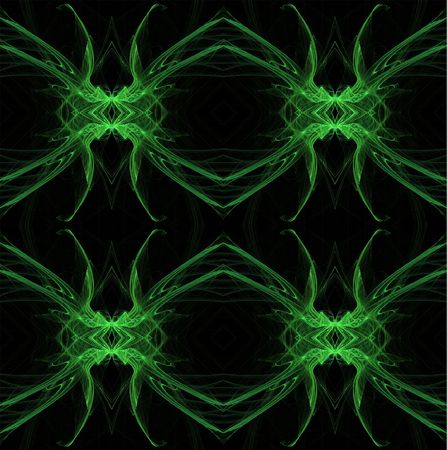 digitally generated: Seamless, continuous background or wallpaper in green and black with the look of a spider or all-seeing eye, designed for continuous repeating. Stock Photo