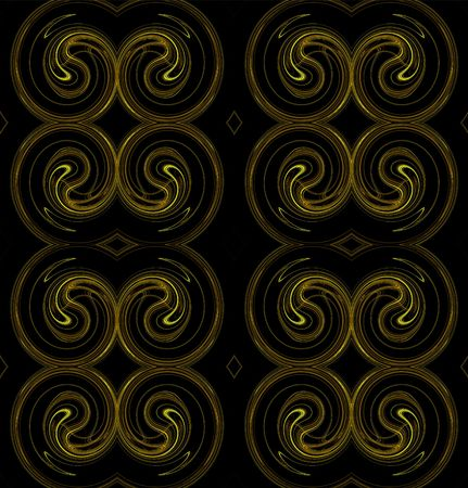 Seamless continuous background in yellow and brown on a black background that looks like rams horns. photo