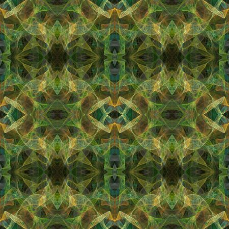 textiles: Seamless abstract fractal wallpaper, textile pattern or background in multi-colors of greens and golds.