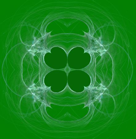 patrik background: Green and white, seamless clover abstract fractal wallpaper, textile pattern or background design.that can be used for St. Patrick's Day. Stock Photo