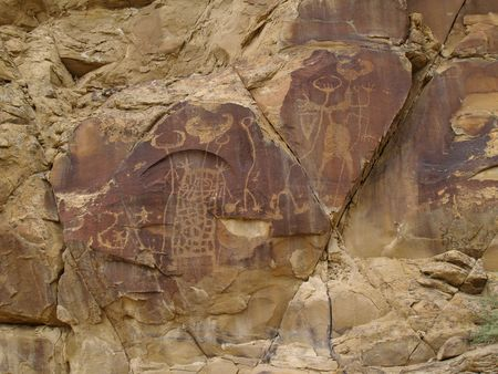 ancient civilization: Weather worn indian petroglyphs in central Wyoming near Thermopolis.