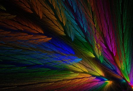 Multi-colored feather fractal with colors similar to a parrot. Stock Photo