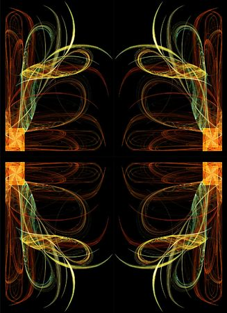 digitally generated: Continuous fractal design in greens, golds and orange on a black background.
