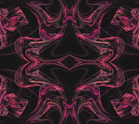 pinks: Continuous fractal textile pattern in pinks on a black background.