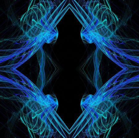 diamond shaped: Diamond shaped continuous fractal pattern in blue and teal on a black background.